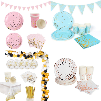 Pink Blue Polka Dot Gold Disposable Tableware Set Paper Plate Cup Napkins Banner Tablecloth Birthday Party Decor party supplies