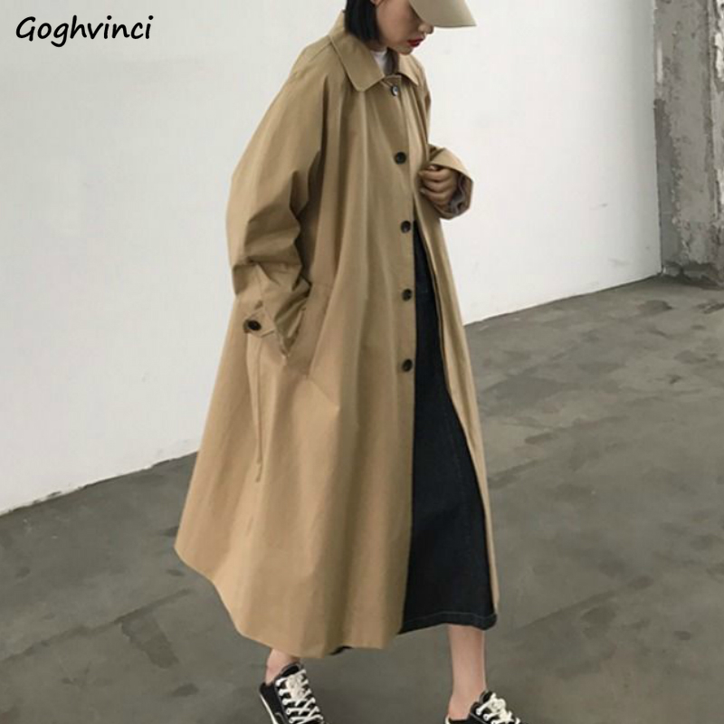 Trench Long Coat Women Loose Simple Korean Style All-match Ins Leisure Daily Outwear Womens Oversize Sweet Solid Chic Elegant