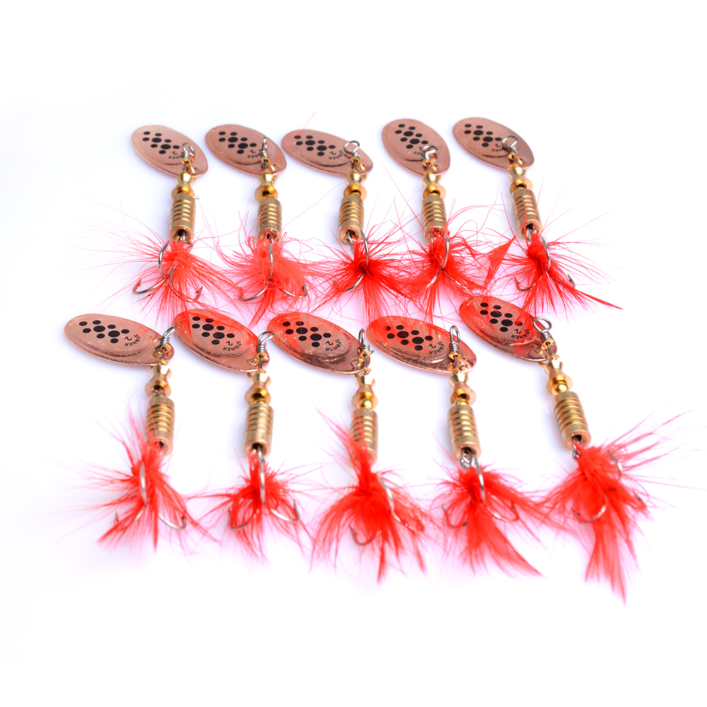 10PCS Fishing fishs baits spoon lures lure metal hook red feather 3.5g