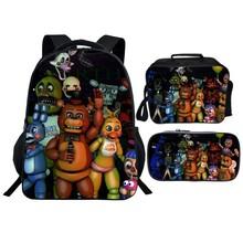 W nowym stylu 3 sztuk zestaw pięć nocy w Freddy dzieci dziecko szkolne torby FNAF Cartoon dzieci plecaki dla chłopców tornister dziewczyny Bookbag tanie tanio Poliester zipper Backpack 0 5kg Nylon 40cm Schoolbag2 Unisex 16cm 30cm Torby szkolne