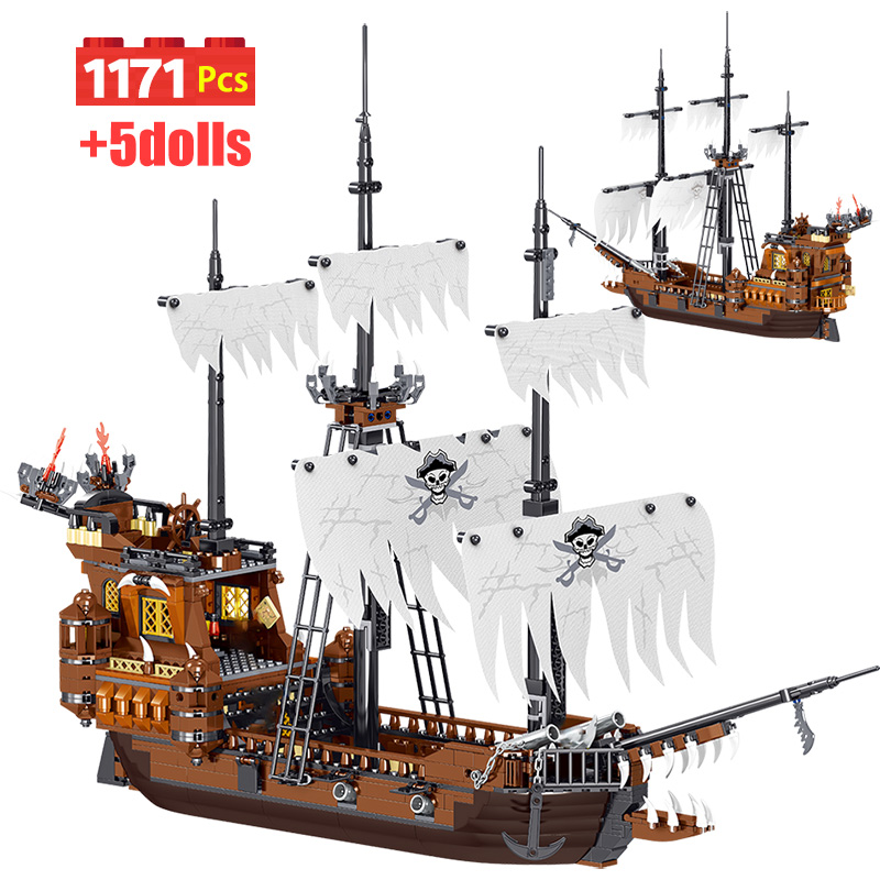 1171pcs Pirates Of The Caribbean Ship Rover Model Building Blocks Movies Figures Bricks Toys For Children Christmas Gift