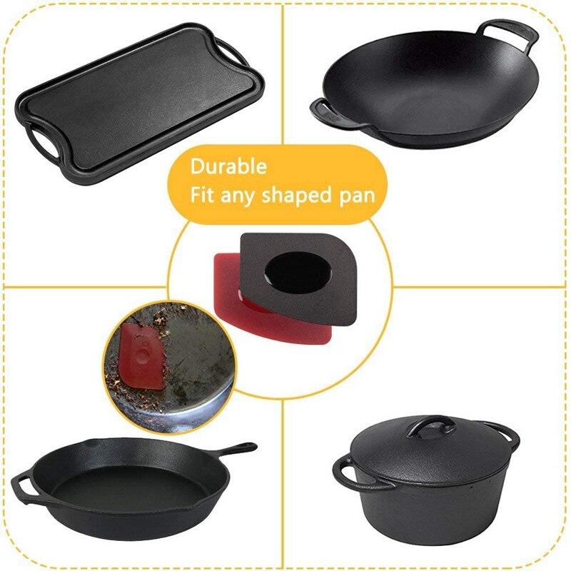 6 Piece Durable Grill Pan Scraper Handle Holder Plastic Set 3