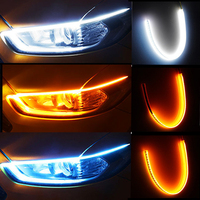 Luz de circulación diurna para coche, barra de luz decorativa, Flexible, de tubo suave, intermitente lateral, color blanco y rojo, 2 uds.