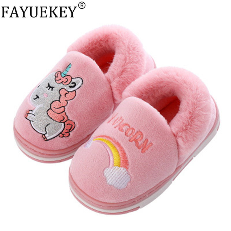 Children Winter Slippers Cartoon Rainbow Unicorn Shoes Toddler Boys Baby Girls Flip Flops Indoor Home Kids Slippers Plush Warm