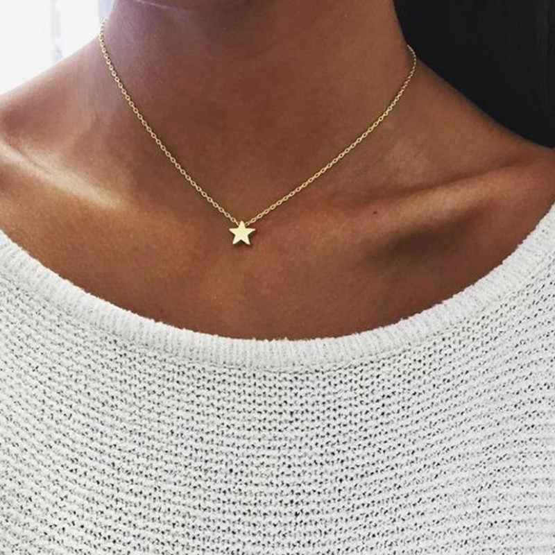 Moda Color oro plata joyería amor corazón collares y colgantes cadena doble gargantilla Collar mujeres joyería regalo