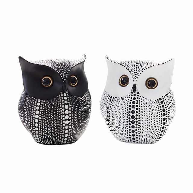 Nordic Style Minimalist Crafts White and Black Owl Animal Figurines Resin Statue Home Decoration Miniature Living Room Ornaments 6