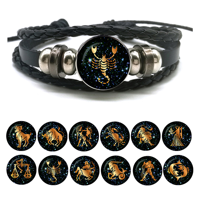12 Zodiac Signs Leather Bracelet for Men Women Virgo Libra Scorpio Aries Taurus Braided Rope Bracelets Birthday Gift Wholesale