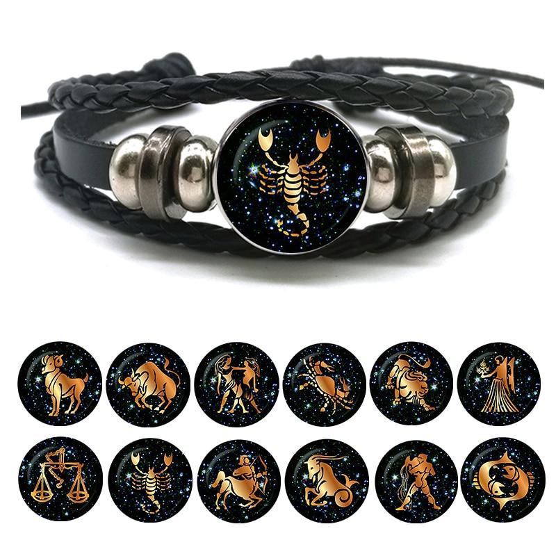 12 Zodiac Signs Leather Bracelet for Men Women Virgo Libra Scorpio Aries Taurus Braided Rope Bracelets Birthday Gift Wholesale