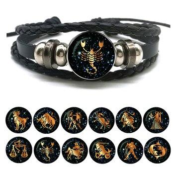 Bracelet en cuir signes du zodiaque pour hommes et femmes corde tress e vierge balance scorpion