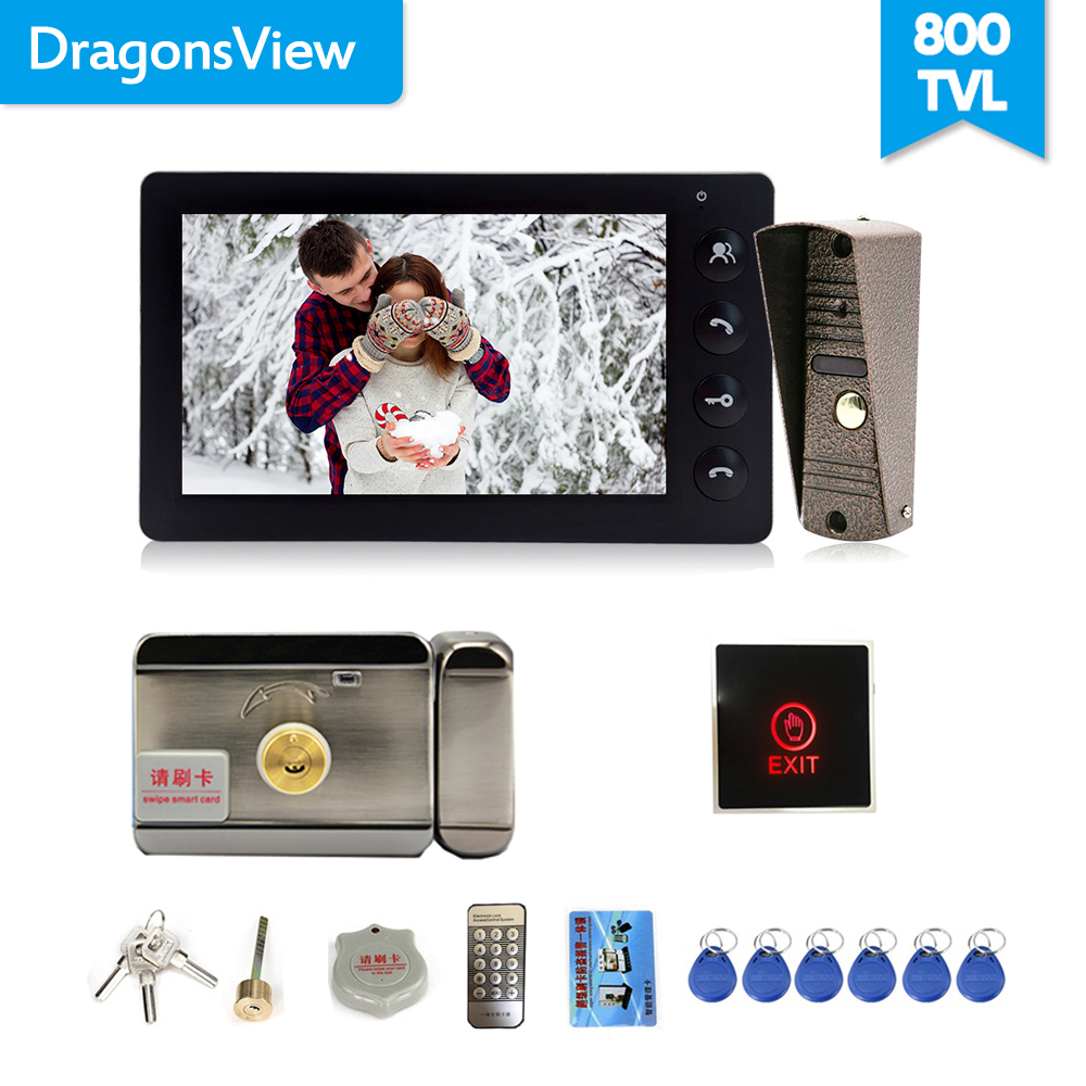 Dragonsview Wired Video Türklingel <font><b>Intercom</b></font> System Video Kamera 7 Zoll Indoor-Monitor Schwarz Entsperren Reden Video Tür Eintrag Panel image