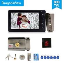 Dragonsview السلكية جرس باب يتضمن شاشة عرض فيديو نظام اتصال داخلي كاميرا فيديو 7 بوصة داخلي رصد أسود فتح يتحدث الفيديو باب دخول لوحة