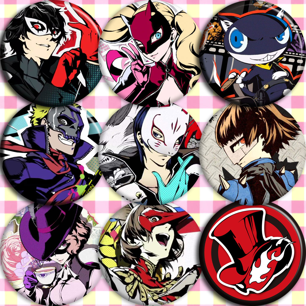 Japan Anime <font><b>persona</b></font> <font><b>5</b></font> Cosplay <font><b>Badge</b></font> Cartoon Collection Bags <font><b>Badges</b></font> For Backpacks Button Clothes Brooch Pins gifts image
