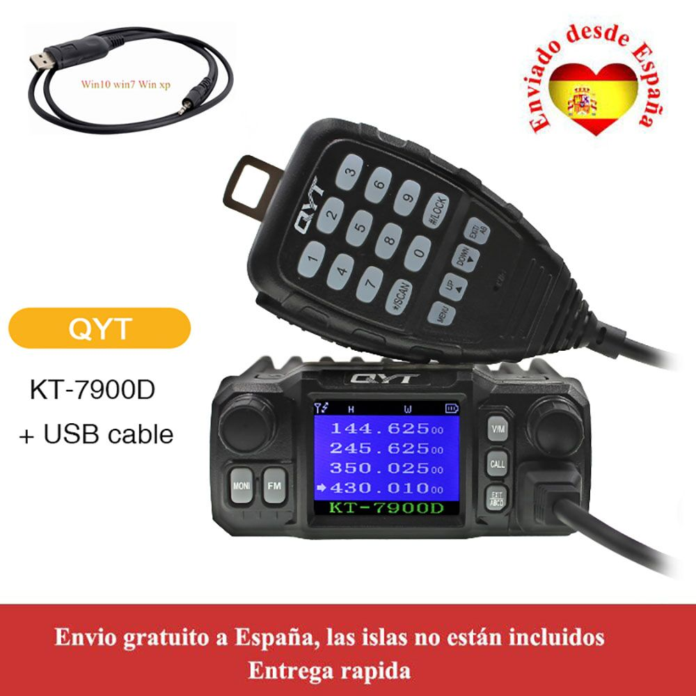 QYT Mini Radio KT-7900D 25W Quad Band 136-174/220-260/350-390/400-480MHZ KT7900D Mobile Walkie Talkie + USB cable