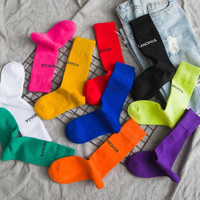 Stylish Pure Color 10 Letters Casual Socks Harajuku Fluorescent Green Tube Socks Men&Women Unisex Cotton Girls Winter Socks 1236