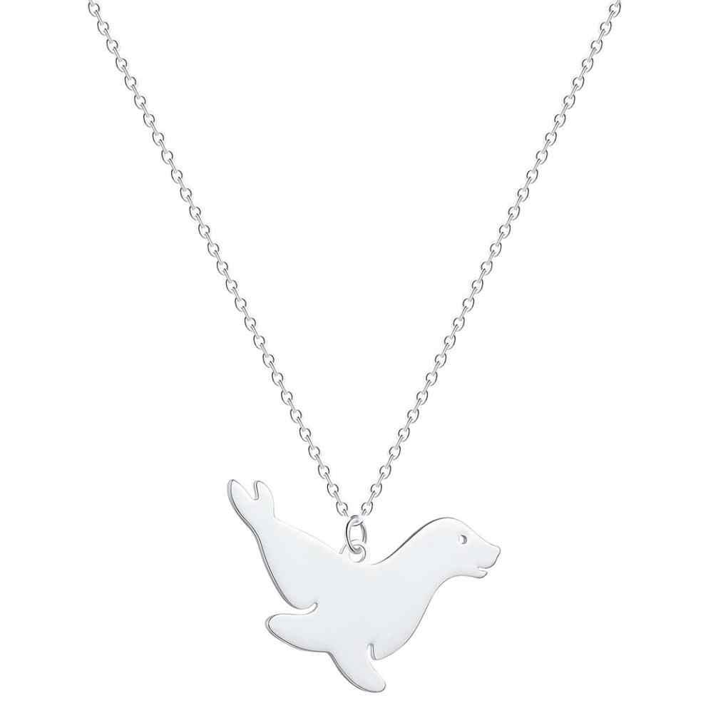 QIAMNI Cute Dainty Animal Walrus Sea Lion Pendant Necklace Choker Collares Sea Ocean Arctic Jewelry Birthday Gift Collier Femme