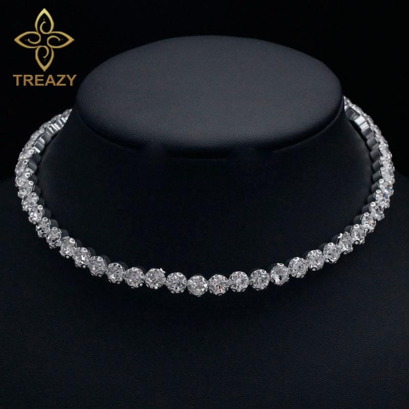 TREAZY Bridal Fashion Crystal Rhinestone Choker Necklace Women Wedding Accessories Tennis Chain Chokers Jewelry Collier Femme 1