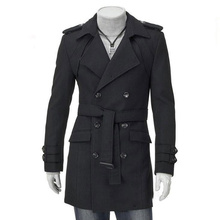 New Mens Trench Coat Jacket Winter Autumn England Style Smart Casual Double Breasted Slim Vintage Outwear Plus Size 3XL