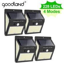 Goodland 228 144 LED Solaire Lumière Extérieure Lampe Solaire PIR Capteur De Mouvement Solaire Lumière Solaire Réverbère pour la Décoration De Jardin