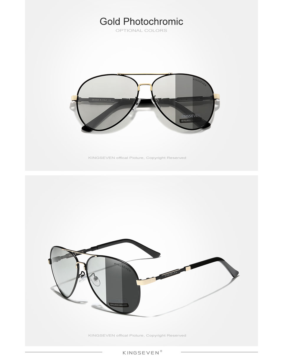 KINGSEVEN NEW Fashion Men's Aluminum Sunglasses Polarized Fishing Driving Sun glasses Brand Men UV400 Photochromism Lens Male