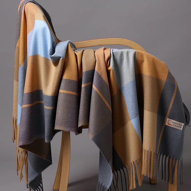 Cashmere Scarves Wrap Muffler Ladies Shawl Dots Thickening Soft Autumn Solid-Color Unisex