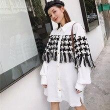 LANMREM Stitching Lattice Tassel Long Sleeve Lapel Plus Woman Dress Casual Simple Fashion 2020 summer chiffon shirt TV540