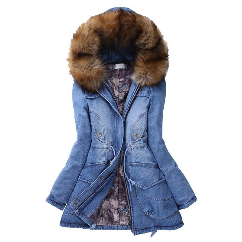 OEAK Brand Denim Jacket Women's Fur Collar Coat Zipper Denim Jeans Parka Female Long Parka Warm Cotton Fleece Hoody Outwear