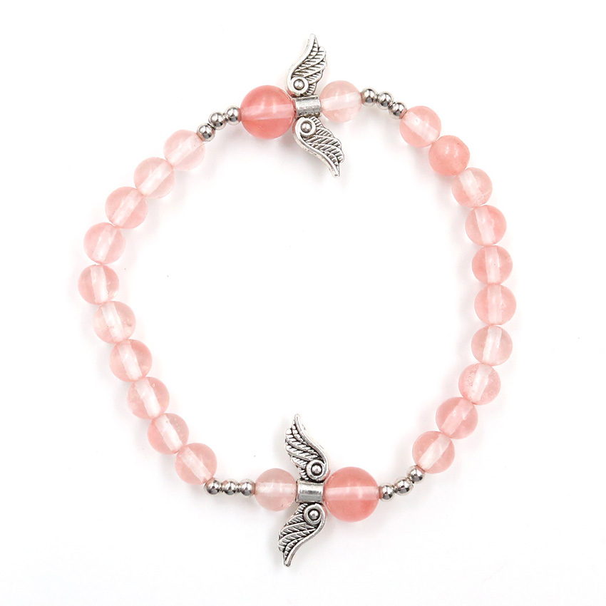 FYJS Unique Handmade 6 mm Round Beads Connect Cherry Quartz Elastic Bracelet with Angel Wing Amulet Jewelry image