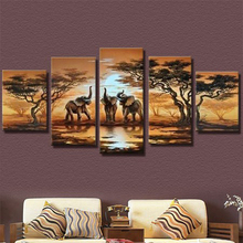 2017 diy 5pcs/set mosaic full diamond embroidery elephant animals 3d diamond painting cross stitch square drill multi pictures