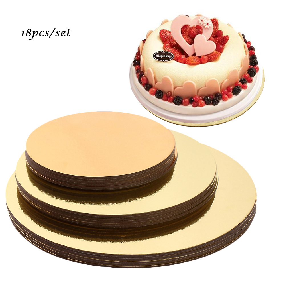 Anti-scalding Aluminum Foil Cake Tray Boards Set of 18 circle bases 6 inches, 8 and 10 inches Each