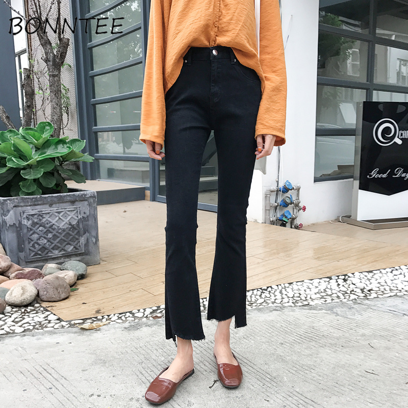 Jeans Denim Women Elasticity High Waist Flare Retro Womens Chic Soft Basic Quality All-match Korean Style Fashion Daily Casual