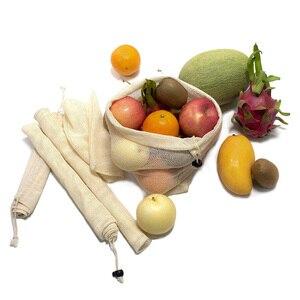 Image 3 - 재사용 쇼핑 가방 100% 코 튼 야채 과일 저장 가방 메쉬 식료품 쇼핑 제품 가방 여성 빨 가방