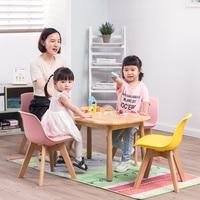 Solid Wood Backrest Children Chair Home Student Chair Kindergarten Study Chair Soft Bag Cushion Gold Waist Line Kids Furniture