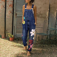 Women Jeans Jumpsuit Autumn Winter Fashion Casual Sleeveless Floral Denim Jeans Full Length Overall Slim Fit Ladies Jumpsuit