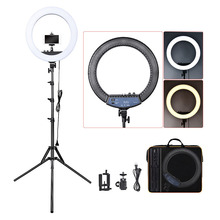 цена Fusitu RL-18II Dimmable Photographic light 3200-5600K 512 Led Ring Light Camera Photo Studio Phone Makeup Ring Lamp with Tripod