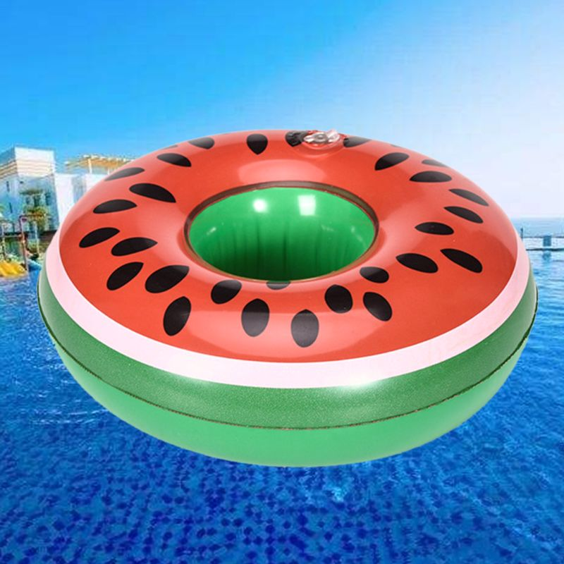 Waterpark Children Toys Watermelon Cup Holder Coaster Floating Inflatable Drink Bottle Case