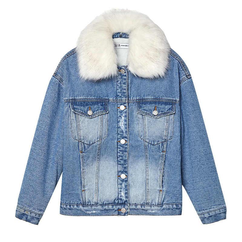 LEIJIJEANS nowa zima plus rozmiar plus aksamitna damska kurtka dżinsowa odpinane białe futro kołnierz moda damska ciepła kurtka dżinsowa