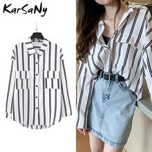 Women Shirts Long Sleeve Shirt Oversized Stripe Blouse Long Sleeve Striped Shirt Women Blouses 2020 Spring Blouse Shirts White