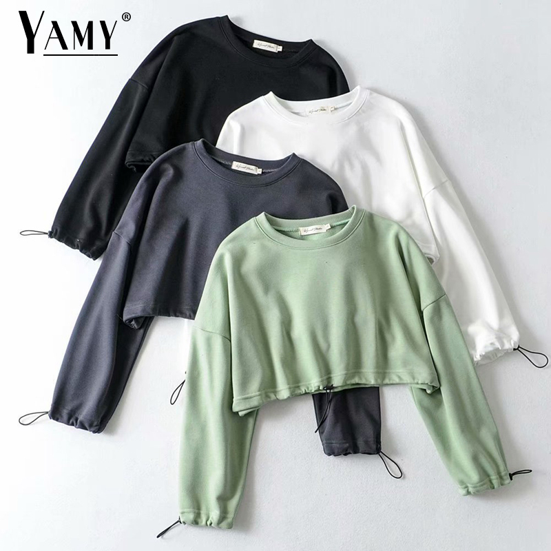 Fall Crop Top Hoodies Women Cotton Pullover Cute Hoodie Cropped Hoodies Females Sweatshirt Women Korean Hoodie Vintage Autumn