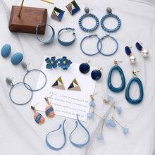 Синие корейские серьги, простые Винтажные серьги, Женские Геометрические серьги с цветком, новые темпераментные ювелирные изделия с кисточ...