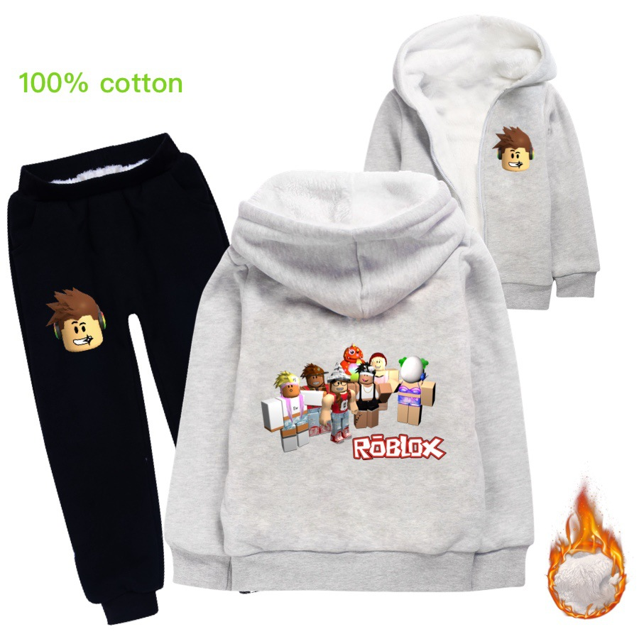 Roblox Black Winter Coat Pants Girls Clothing Sets Winter Thick Plush Roblox Children Clothes Coats Pants Baby Boys Tracksuit Autumn Outfits Kids Sport Suit Aliexpress
