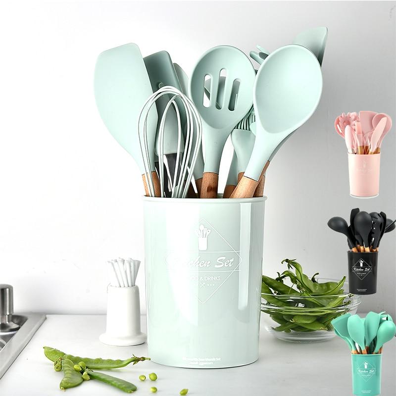 Silicone Kitchen Cooking Utensils Tools Set Non-stick Home Appliances Kitchen