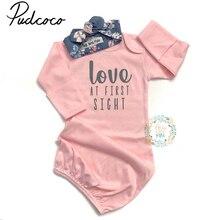 Хлопковые мягкие ночные рубашки для новорожденных девочек, пижамы для пеленания, домашняя одежда, одежда для сна, розовый цвет, для детей от 0 до 24 месяцев