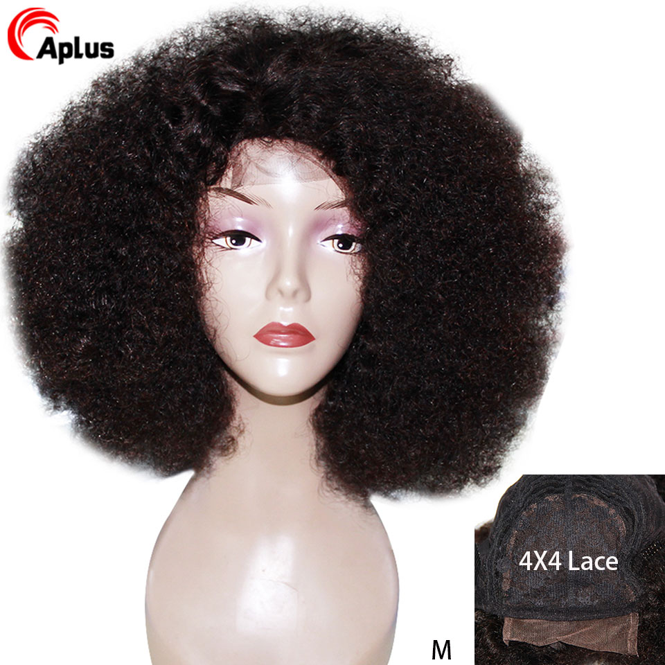 Short Afro Kinky Curly Wig Bob 4x4 Lace Front Human Hair Wig 150 Glueless Pre Plucked Lace Wig For Woman Side Part Peruvian Remy