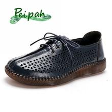 PEIPAH Women's Genuine Leather Shoes Woman Lace-Up Hallow Ou