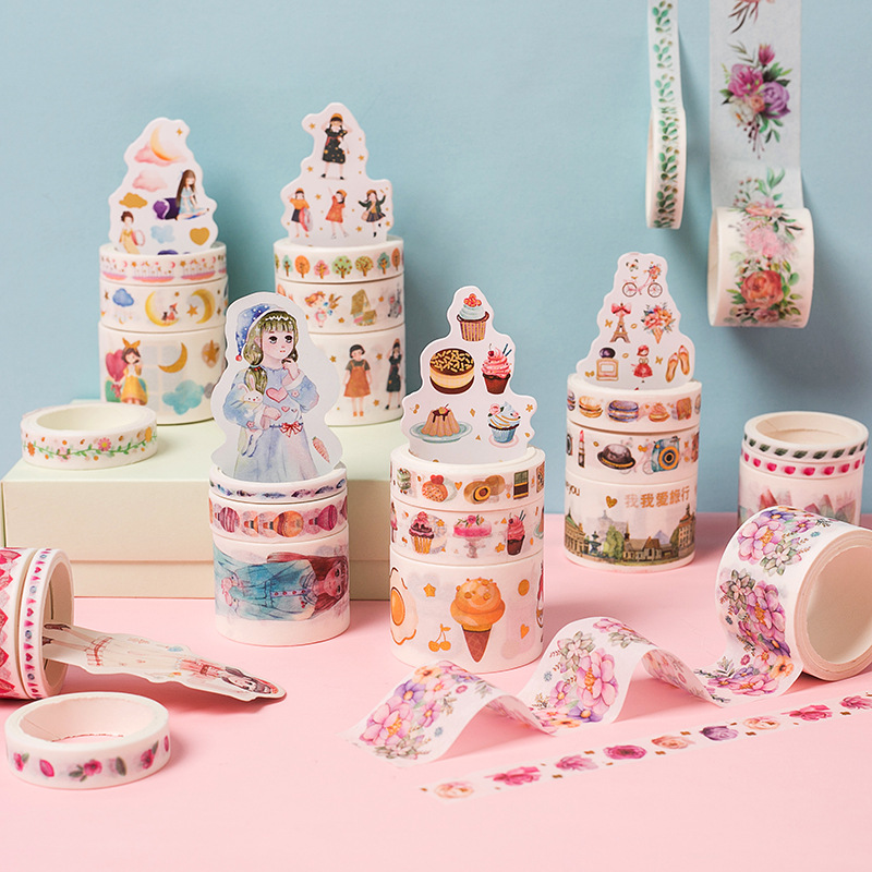 3 Pcs/pack Love Travel Fancy Dessert Washi Tape Set Adhesive Tape DIY Scrapbooking Sticker Label Masking Craft Tape
