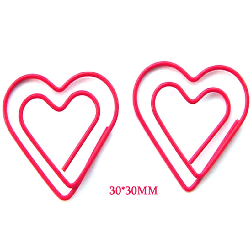 100pcs Heart Paperclip Fashion Cute Love Heart Paper Clip Metal Memo Clips Decorative Office Accessories Kawaii Stationery