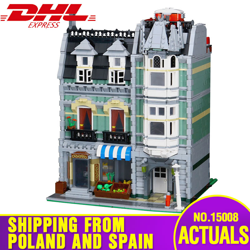 Lepining City Street Building 15008 Compatible With 10185 Green Grocer Model Building Blocks Brick Educational Toys For Children