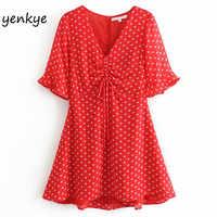 Red Floral Print Drawstring V Neck Dress Sweet Women Short Sleeve A-line Mini Summer Chiffon Dress Short vestido DDOM9201