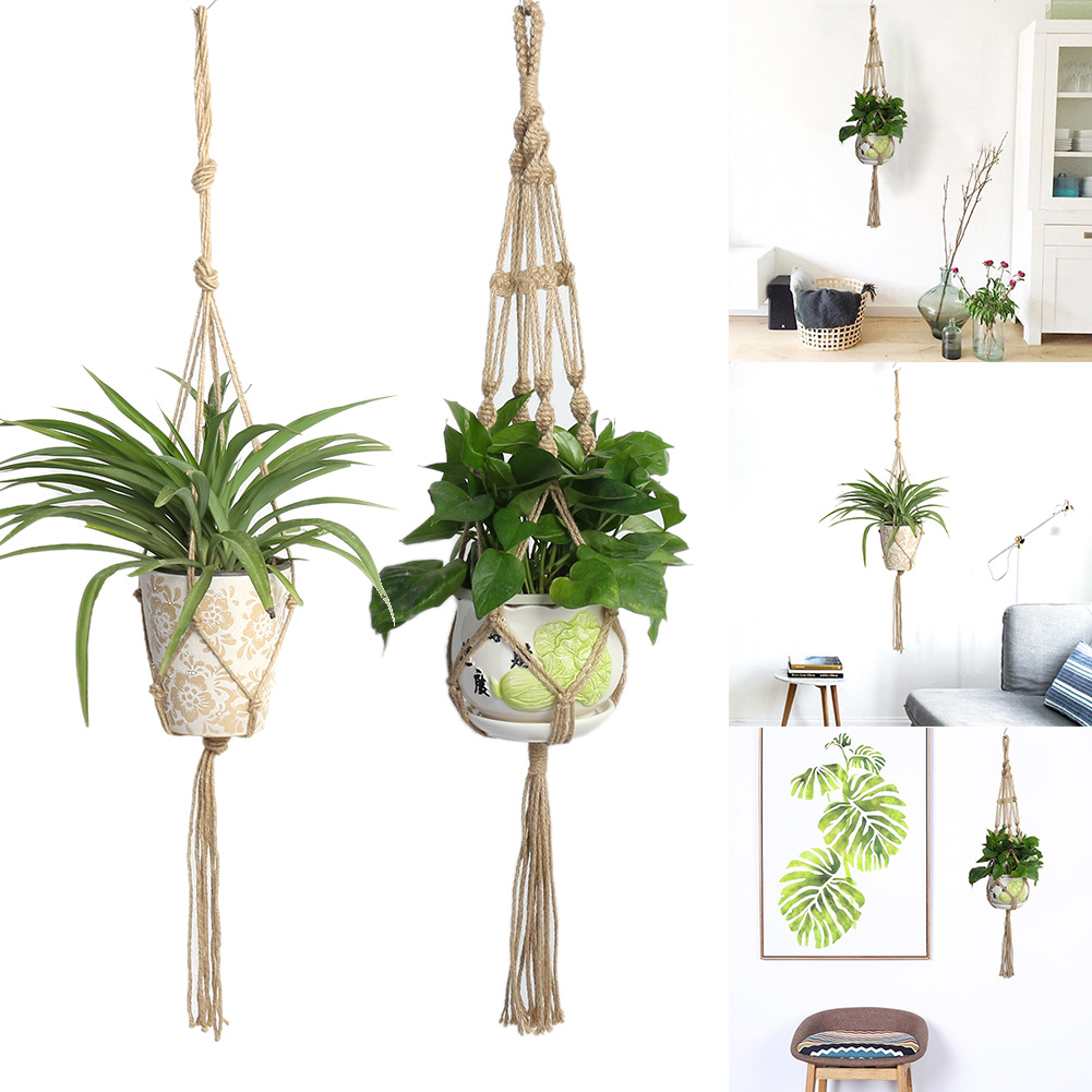Macrame Boho Plant Hanger Basket Linen Rope Planter Net Bag Wedding Decoration Hanging Basket Jute Rope Pot Holder