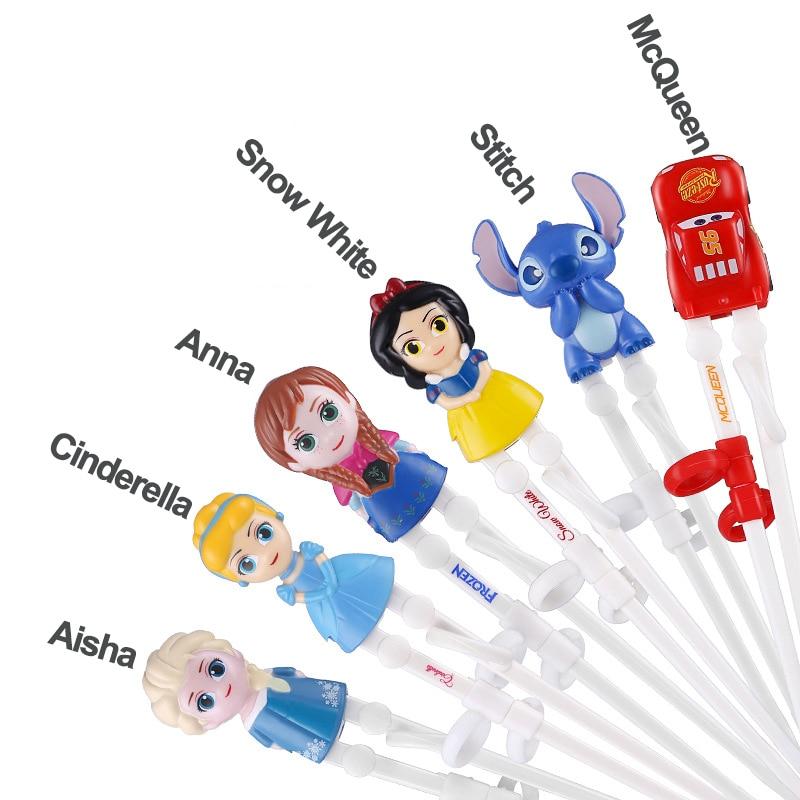 Disney Kids Princess Frozen Learning Training Chopsticks ABS Cartoon Children Helper Chopsticks Tableware Stainless Steel Spoon
